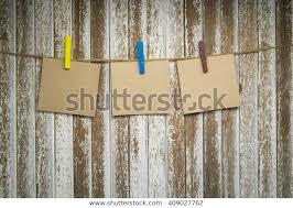 Three Blank Paper Washing Line Wood Stock Photo Edit Now 409027762