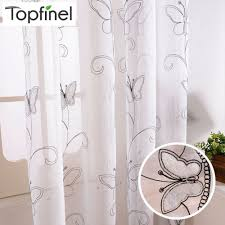 Topfinel Cotton Linen White Ready Made Cheap Embroidered Sheer Butterfly Curtains For Living Room Bedroom Children Kids Room Curtains Living Room Kids Room Curtains Girls Room Curtains