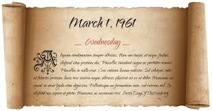Image result for March 1, 1961,
