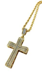 cross pendant necklace with 18k gold