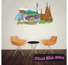 Famous City Barcelona Wall Decal Wall Fabric Repositionable Decal Vinyl Car Sticker Usc009