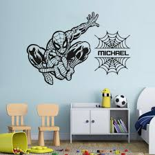 Spiderman Wall Decal Custom Personalise Boys Name Vinyl Wall Sticker The Avengers Pattern Kids Room Decor Bedroom Art Mural Wall Art Quotes Stickers Wall Art Sticker From Joystickers 12 66 Dhgate Com