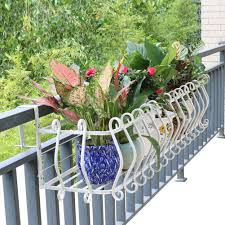 Hanging Balcony Railing Planter Box Patio Deck Plant Flower Stand Rack With Hooks White Metal Size 100x30x18cm Amazon Co Uk Kitchen Home