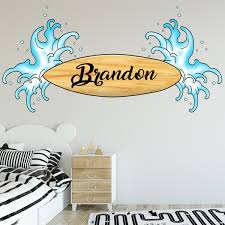Vwaq Surfer Decal With Name Custom Surfboard Wall Stickers Personalize