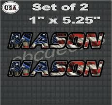 Mason American Flag Vinyl Decal Sticker Hard Hat Name Decals Stickers X2 Ebay