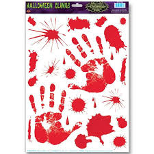 Bloody Hand Print Cling Decorations