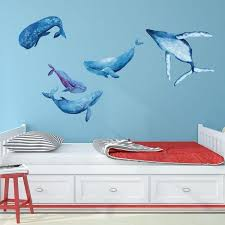 Shop Watercolor Whale Wall Decal Set Overstock 18658417