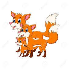cartoon fox family isolated on white