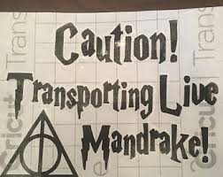 Caution Live Mandrake On Board Car Decal Caution Etsy