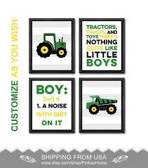 Green Tractor Nursery Decor Tractor And Truck Nursery Wall Etsy Playroom Decor Boys Art Wall Kids Tractor Nursery