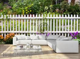 White Picket Fence Surrounded By Garden Flowers In Yard Wall Mural Wallpaper Murals Littleny