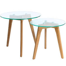 nest of 2 round coffee side tables