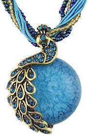 colorful beads chain big stone pendant