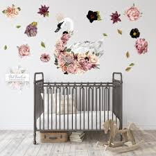 30 Boho Crown Swan Peonies Floral Wall Decal Sticker Art Baby Nurse Pink Forest Cafe