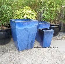 blue glazed tall taper pot planter