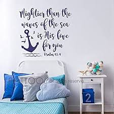 Amazon Com Battoo Bible Verse Wall Decal Mightier Than The Waves Of The Sea Is His Love For You Scripture Wall Decal Psalm 93 4 Nautical Nursery Wall Decal Quote Navy Blue 16 Wx15 H