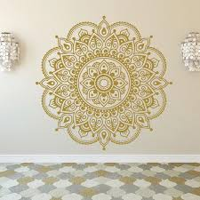 Gold Mandala Wall Stickers For Rooms Bohemian Style Mandala Lotus Decal Flower Wall Art Yoga Studio Decals Wall Sticker Hy332 Wall Stickers Aliexpress
