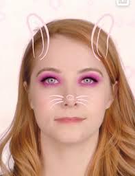 pink bunny makeup snapchat lens filter