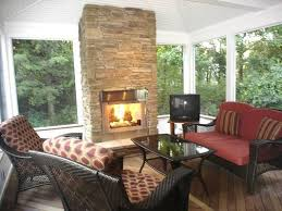 screened porch with fireplace google