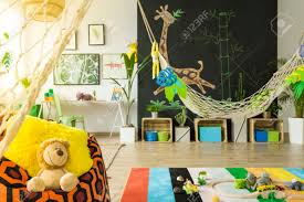 Jungle Kids Room With Hammock And Blackboard Stock Photo Picture And Royalty Free Image Image 71353730