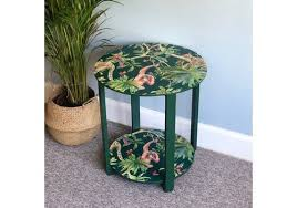 upcycled round side table hand painted