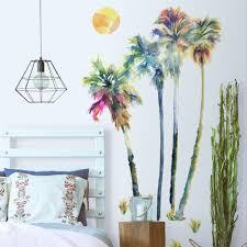 Watercolor Palm Tree Giant Wall Decals Roommates Decor