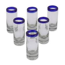 hand blown royal blue shot glasses