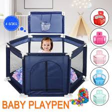 Great Playpen For Kid Playard Safety Gate 6 Panel Fence Indoor And Outdoor Playpen Fence With Basket And Breathable Mesh Walmart Com Walmart Com