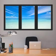 Vwaq Ocean Window Sticker 3d Wall Decal Office Mural Vinyl Decor O