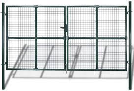 Vidaxl Double Door Fence Gate Garden Mesh Powder Coated Steel Fencing Terrace Outdoor Amazon Co Uk Kitchen Home