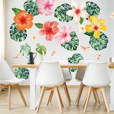 Tropical Hibiscus Philodendron Watercolor Wall Decal Bundle