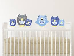 Amazon Com Sunny Decals Sleepy Owl Fabric Wall Decals Set Of 6 Small Dark Blue Light Blue Grey Home Kitchen