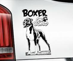 Boxer Dog Sticker Window Bumper Decal Car Stickers Gift K9 On Board V02b Blk Ebay