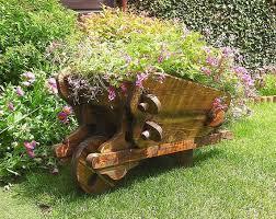 wheelbarrow planter wooden wheelbarrow