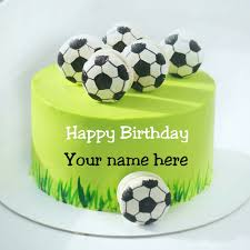 football birthday wishes cake with name