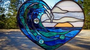 stained glass wave at sunset heart