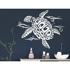 Shop Sea Turtle Wall Decal Ocean Sea Animals Decals Wall Vinyl Sticker Interior Home Sticker Decal Size 44x52 Color Black Overstock 14058684