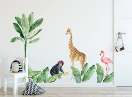 Kids Wall Decal Nursery Tropical Wall Sticker Safari Animals Decal Exotic Leaves Peel And Stick Decals Leaf Wall Sticker Kids Room Nursery