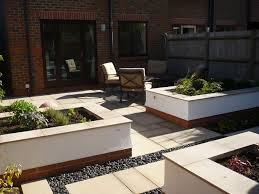 contemporary garden with raised beds