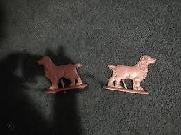 2 Vintage Original Gate Fence Topper Dog Cocker Spaniels Cast Ornament 1552025838