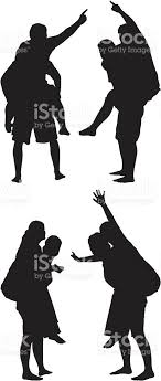 Piggyback Rides Silhouette People Stock Illustration Download Image Now Istock