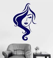 Vinyl Wall Decal Woman Beautiful Face Girl Sexy Lips Hairstyle Lady St Wallstickers4you