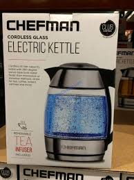chefman electric gl kettle with tea