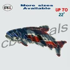 American Flag Trout Vinyl Decal Sticker Fishing Car Truck Window Decals Large Ebay