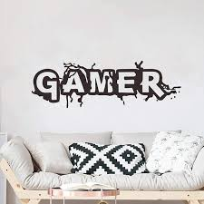 Amazon Com Eutecado Eat Sleep Game Wall Decals Creative Quotes Murals For Boys Bedroom Wall Sticker For Kids Playroom Removable Vinyl Wall Poster Lettering Decors Sticks Gamer 3 Kitchen Dining