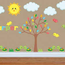 Jungle Leaves Wall Decals Large For Nursery Mural Theme Art Etsy Leaf Baby Tree Vamosrayos