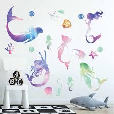 Mermaid Sticker Watercolor Style Art Sea Fish Wall Decal Underwater World Theme Mermaid Decor For Kids Girls Room Home Mural Diy Wall Stickers Aliexpress