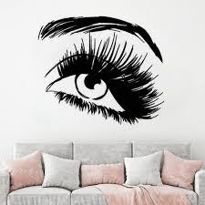 Eye Wall Sticker Vinyl Wall Decal Eyelashes Beautiful Girl Home Decoration Accessories Eyebrow Beauty Salon Stickers Mural Hy11 Wall Stickers Aliexpress