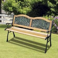 outsunny 50 garden bench cast iron
