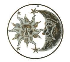 metal sun and moon sculpture wall art